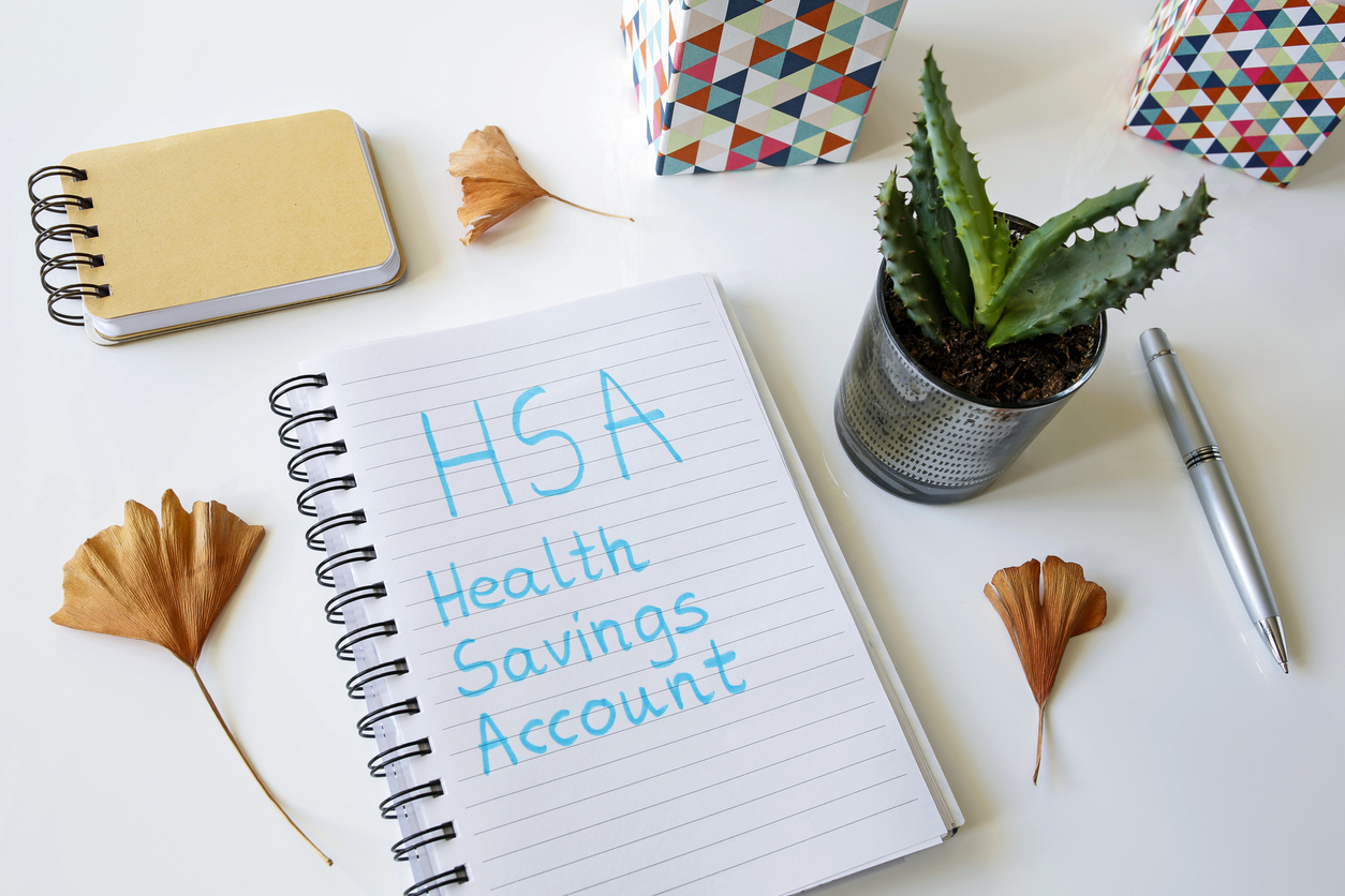 HSA health savings account written in a notebook